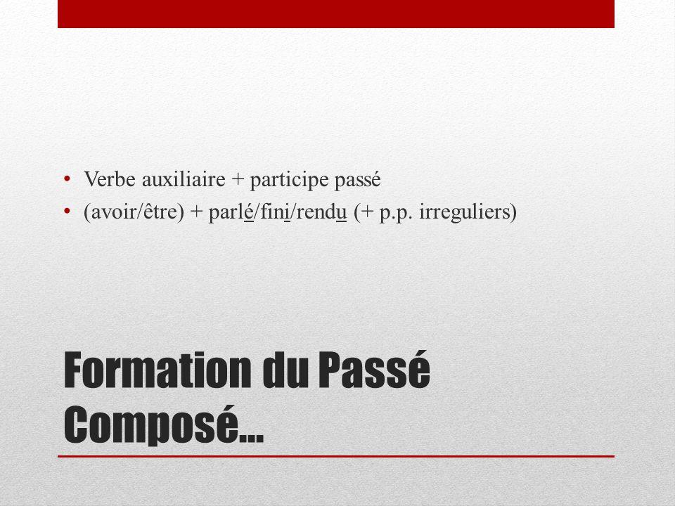 Formation du Passé Composé… Verbe auxiliaire + participe passé (avoir/être) + parlé/fini/rendu (+ p.p.