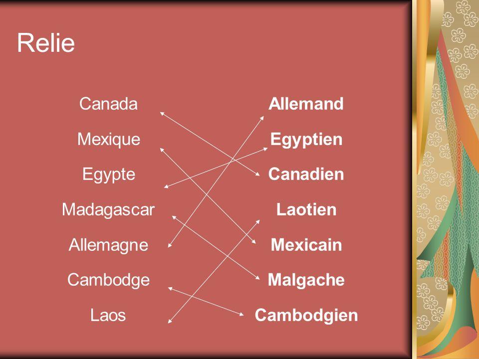 Relie Canada Mexique Egypte Madagascar Allemagne Cambodge Laos Allemand Egyptien Canadien Laotien Mexicain Malgache Cambodgien
