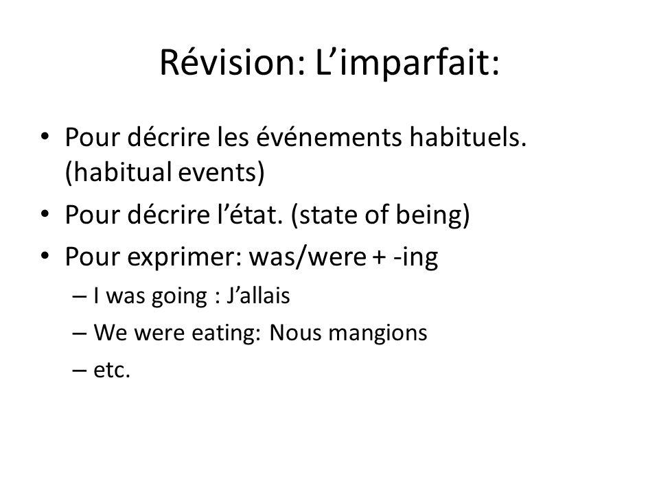 Révision: Limparfait: Pour décrire les événements habituels.