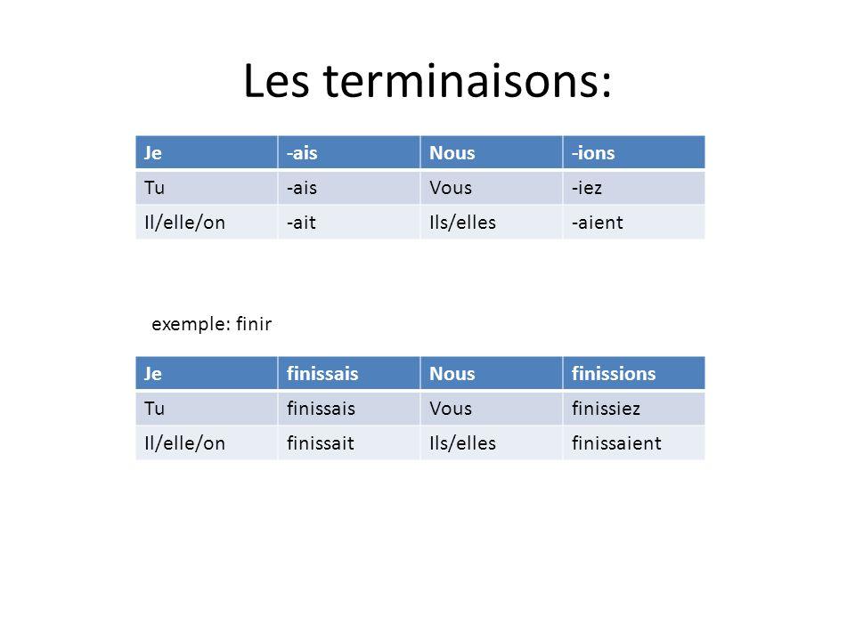Les terminaisons: Je-aisNous-ions Tu-aisVous-iez Il/elle/on-aitIls/elles-aient JefinissaisNousfinissions TufinissaisVousfinissiez Il/elle/onfinissaitIls/ellesfinissaient exemple: finir