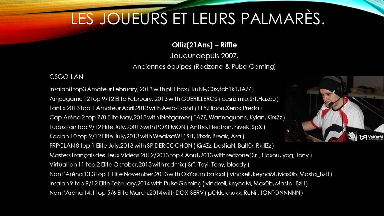 LES JOUEURS ET LEURS PALMARÈS. Olliz(21Ans) – Riffle Joueur depuis 2007. Anciennes équipes (Redzone & Pulse Gaming) CSGO LAN Insalan8 top3 Amateur Feb