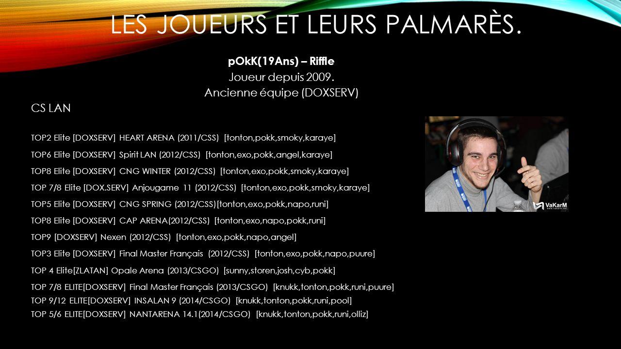 LES JOUEURS ET LEURS PALMARÈS. pOkK(19Ans) – Riffle Joueur depuis 2009. Ancienne équipe (DOXSERV) CS LAN TOP2 Elite [DOXSERV] HEART ARENA (2011/CSS) [