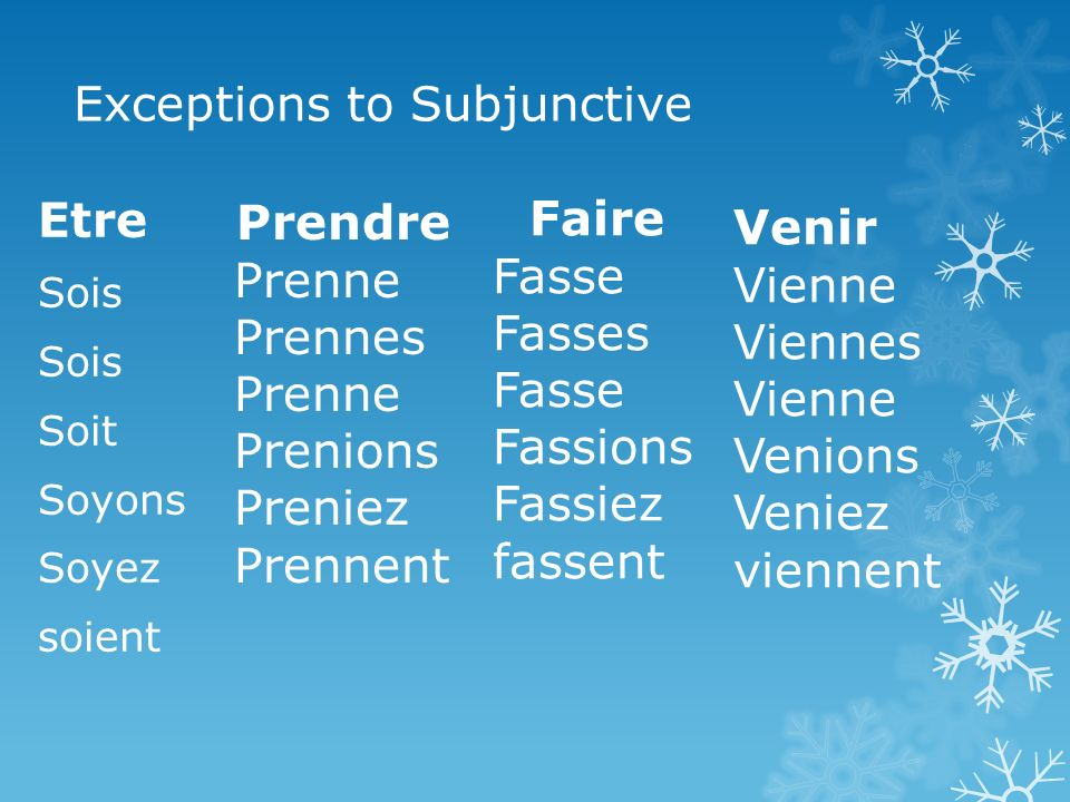 Exceptions to Subjunctive Etre Sois Soit Soyons Soyez soient Prendre Prenne Prennes Prenne Prenions Preniez Prennent Faire Fasse Fasses Fasse Fassions Fassiez fassent Venir Vienne Viennes Vienne Venions Veniez viennent