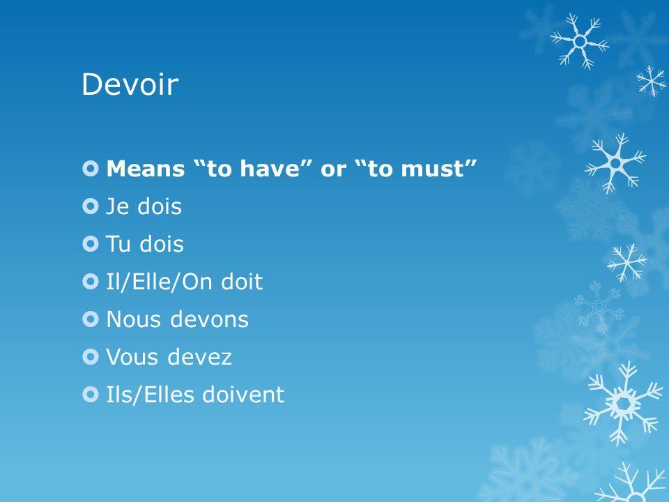 Devoir Means to have or to must Je dois Tu dois Il/Elle/On doit Nous devons Vous devez Ils/Elles doivent