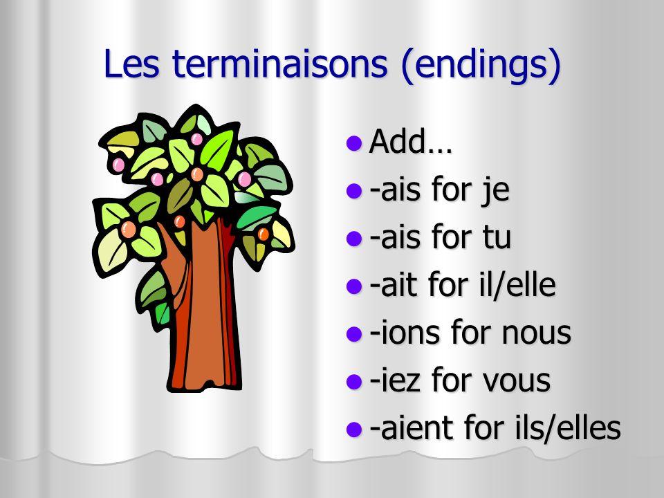 Les terminaisons (endings) Add… Add… -ais for je -ais for je -ais for tu -ais for tu -ait for il/elle -ait for il/elle -ions for nous -ions for nous -