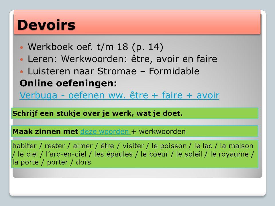 DevoirsDevoirs Werkboek oef. t/m 18 (p.