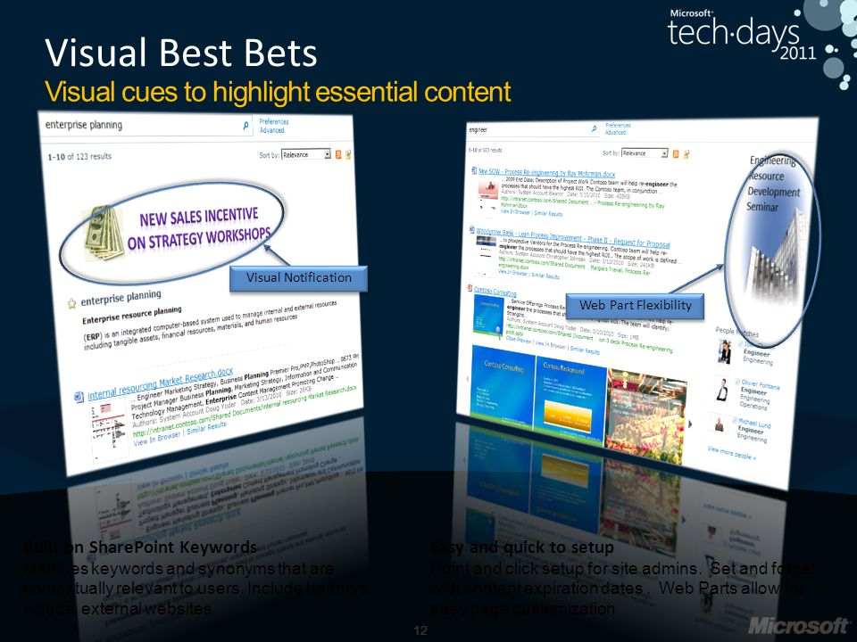 12 Visual Best Bets Visual cues to highlight essential content Built on SharePoint Keywords Matches keywords and synonyms that are contextually relevant to users.