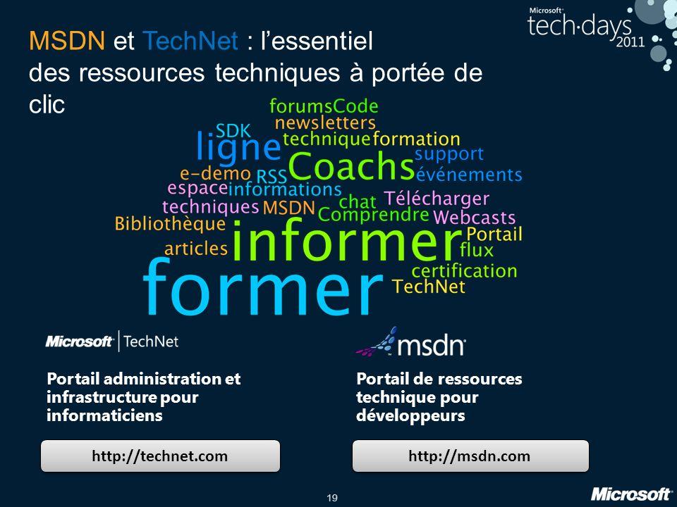 19 MSDN et TechNet : lessentiel des ressources techniques à portée de clic http://technet.com http://msdn.com Portail administration et infrastructure pour informaticiens Portail de ressources technique pour développeurs