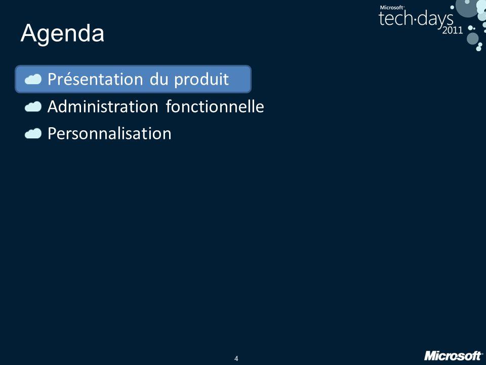 4 Agenda Présentation du produit Administration fonctionnelle Personnalisation