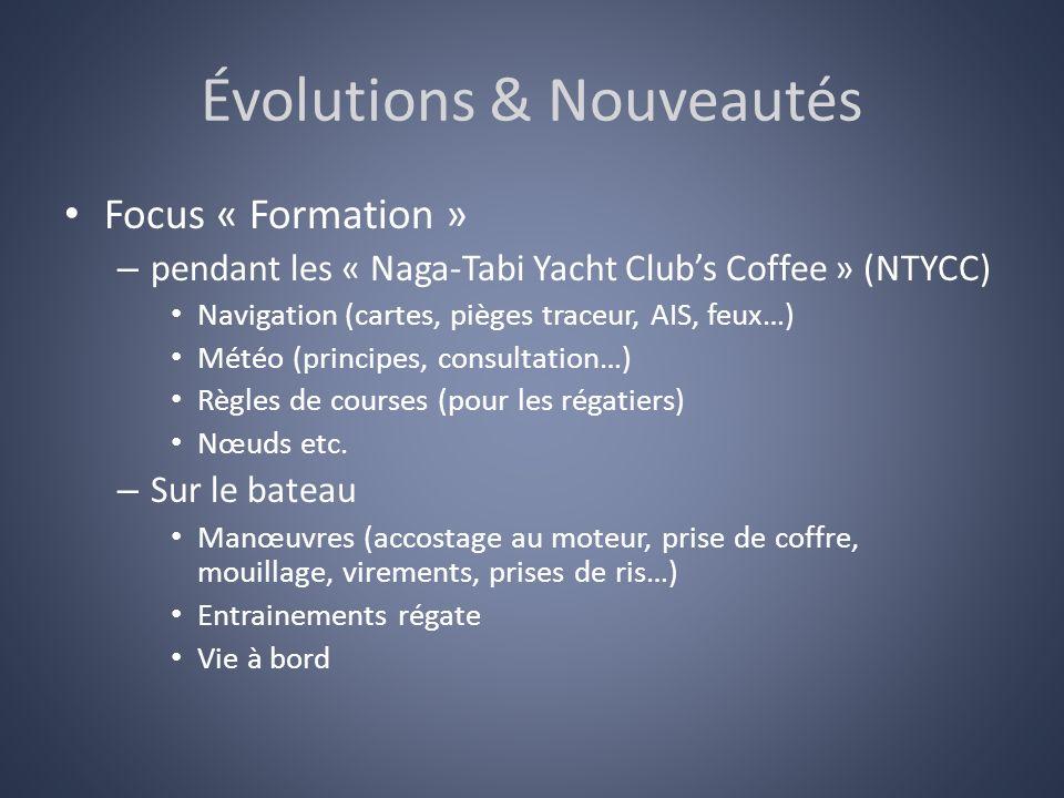 Évolutions & Nouveautés Focus « Formation » – pendant les « Naga-Tabi Yacht Clubs Coffee » (NTYCC) Navigation (cartes, pièges traceur, AIS, feux…) Mét