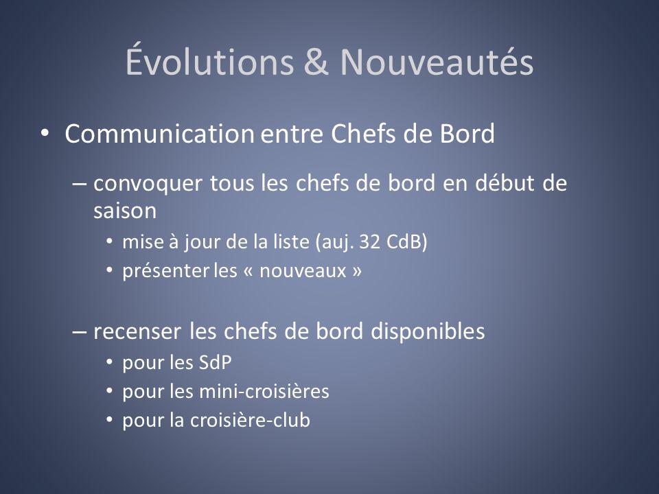 Évolutions & Nouveautés Communication entre Chefs de Bord – convoquer tous les chefs de bord en début de saison mise à jour de la liste (auj. 32 CdB)