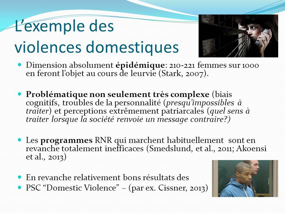 Lexemple des violences domestiques Dimension absolument épidémique: 210-221 femmes sur 1000 en feront lobjet au cours de leurvie (Stark, 2007). Problé