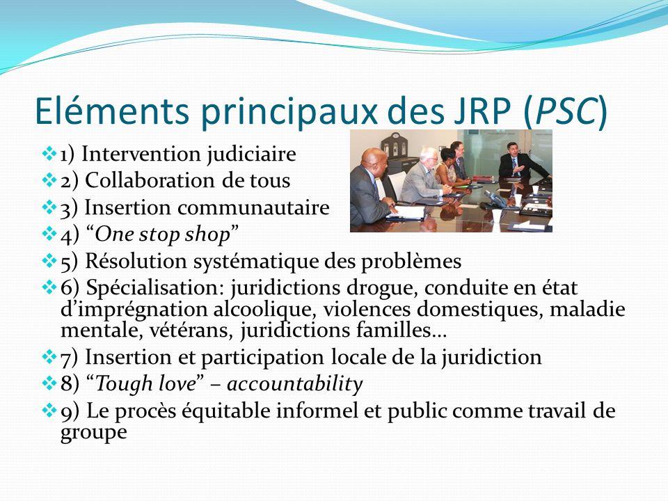 Eléments principaux des JRP (PSC) 1) Intervention judiciaire 2) Collaboration de tous 3) Insertion communautaire 4) One stop shop 5) Résolution systém