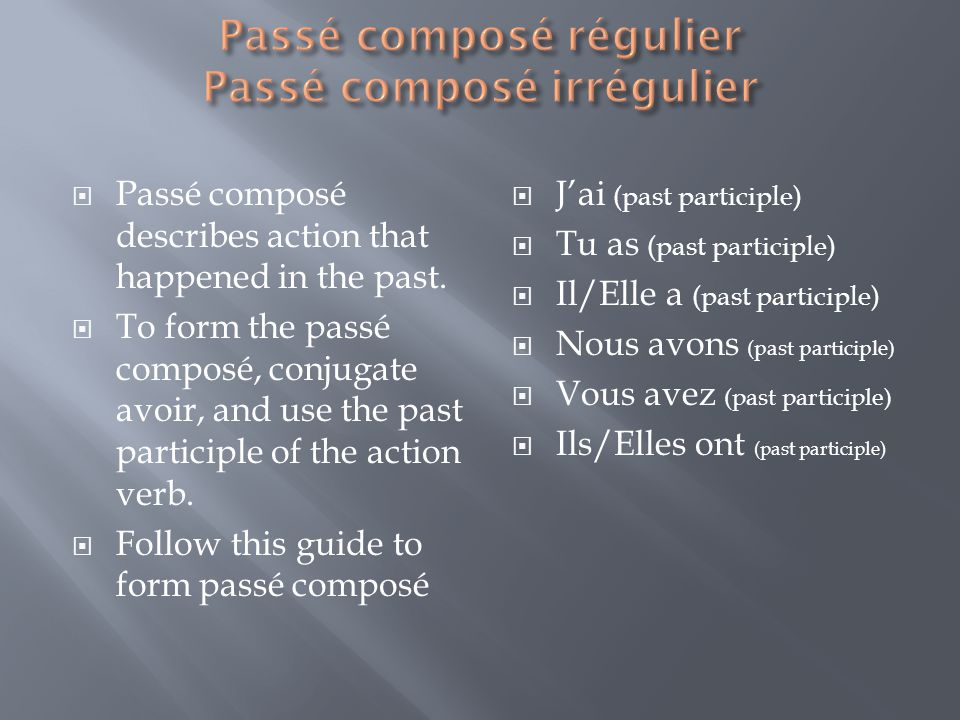 Passé composé describes action that happened in the past.