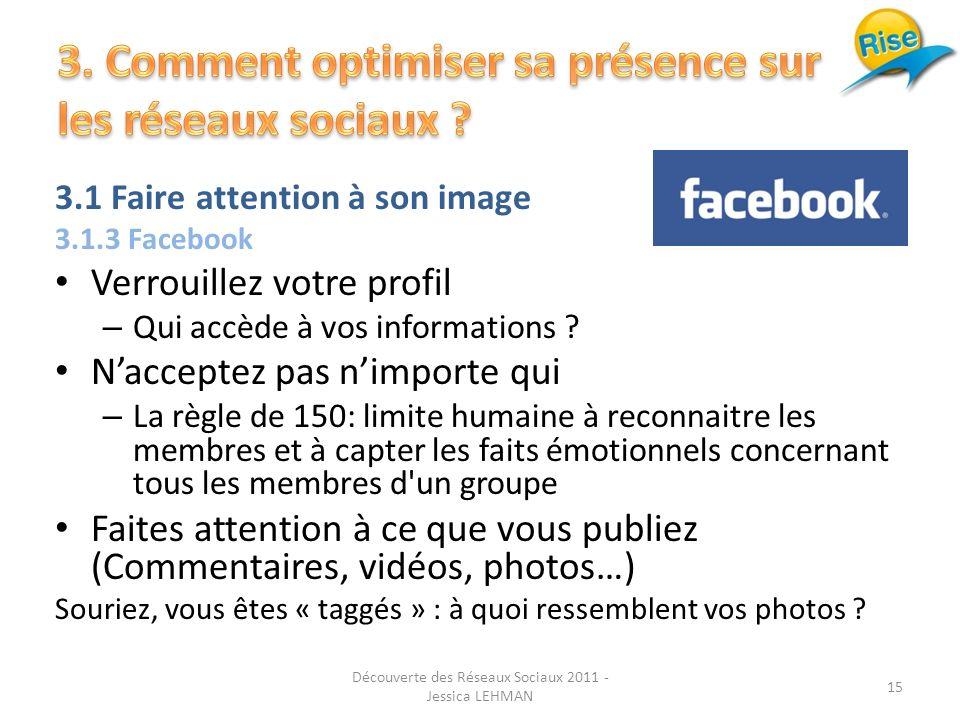 3.1 Faire attention à son image 3.1.3 Facebook Verrouillez votre profil – Qui accède à vos informations .