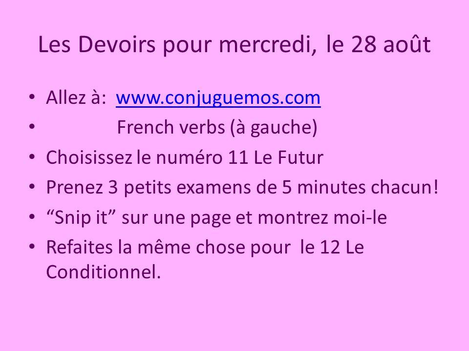 Les Devoirs pour mercredi, le 28 août Allez à: www.conjuguemos.comwww.conjuguemos.com French verbs (à gauche) Choisissez le numéro 11 Le Futur Prenez 3 petits examens de 5 minutes chacun.