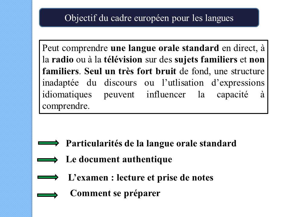 Peut comprendre une langue orale standard en direct, à la radio ou à la télévision sur des sujets familiers et non familiers.