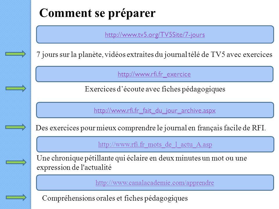 Comment se préparer http://www.tv5.org/TV5Site/7-jours http://www.rfi.fr_exercice http://www.rfi.fr_fait_du_jour_archive.aspx http://www.rfi.fr_mots_de_l_actu_A.asp http://www.canalacademie.com/apprendre 7 jours sur la planète, vidéos extraites du journal télé de TV5 avec exercices Exercices découte avec fiches pédagogiques Des exercices pour mieux comprendre le journal en français facile de RFI.