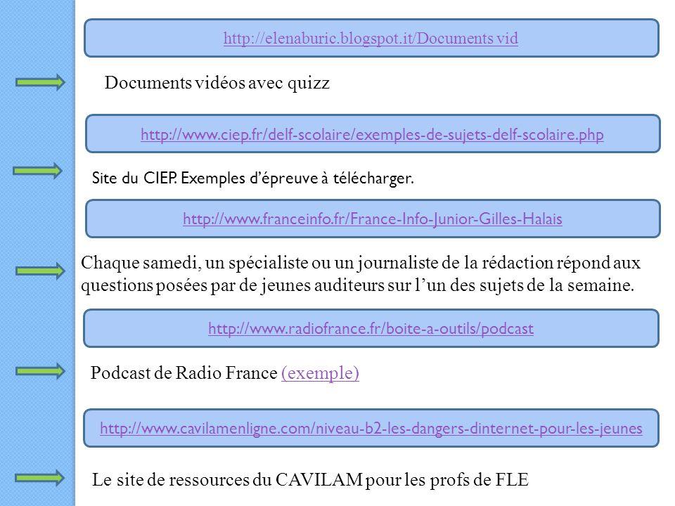 http://www.cavilamenligne.com/niveau-b2-les-dangers-dinternet-pour-les-jeunes http://www.radiofrance.fr/boite-a-outils/podcast http://www.franceinfo.fr/France-Info-Junior-Gilles-Halais http://www.ciep.fr/delf-scolaire/exemples-de-sujets-delf-scolaire.php http://elenaburic.blogspot.it/Documents vid Documents vidéos avec quizz Site du CIEP.