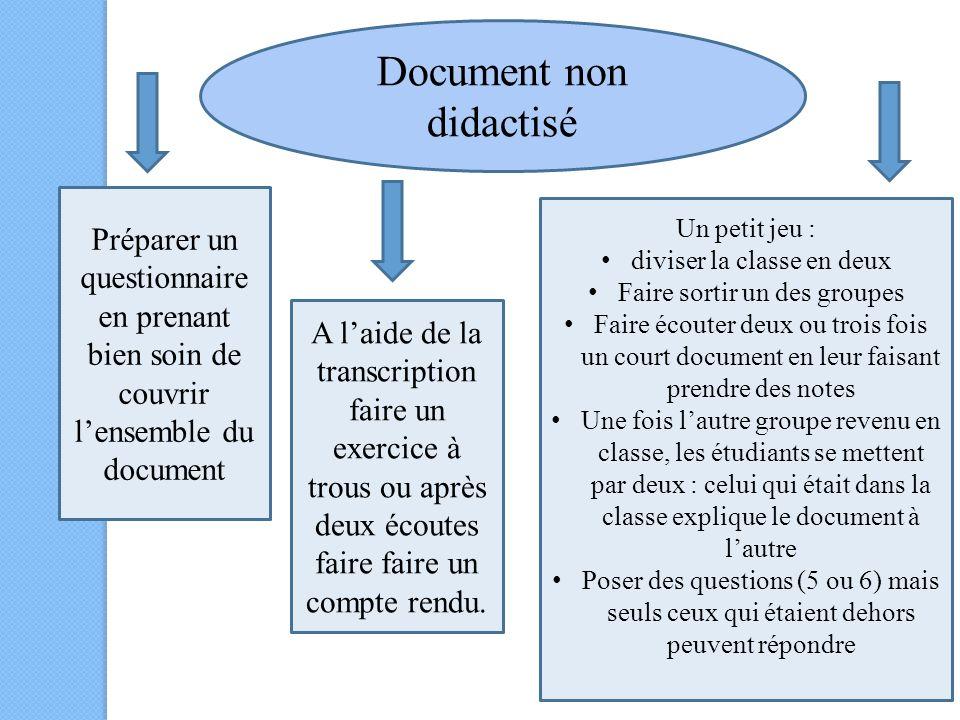 Document non didactisé Préparer un questionnaire en prenant bien soin de couvrir lensemble du document A laide de la transcription faire un exercice à trous ou après deux écoutes faire faire un compte rendu.
