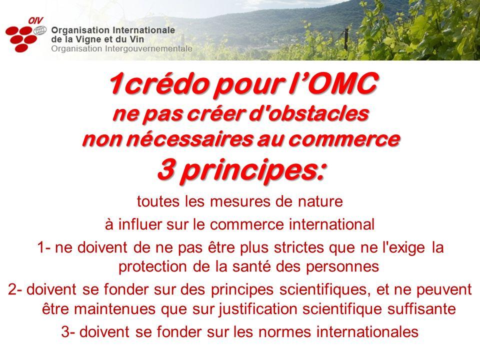 toutes les mesures de nature à influer sur le commerce international 1- ne doivent de ne pas être plus strictes que ne l'exige la protection de la san