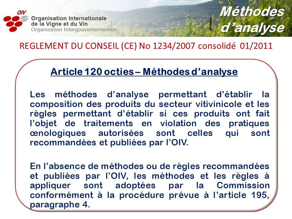 Article 120 octies – Méthodes danalyse Les méthodes danalyse permettant détablir la composition des produits du secteur vitivinicole et les règles per