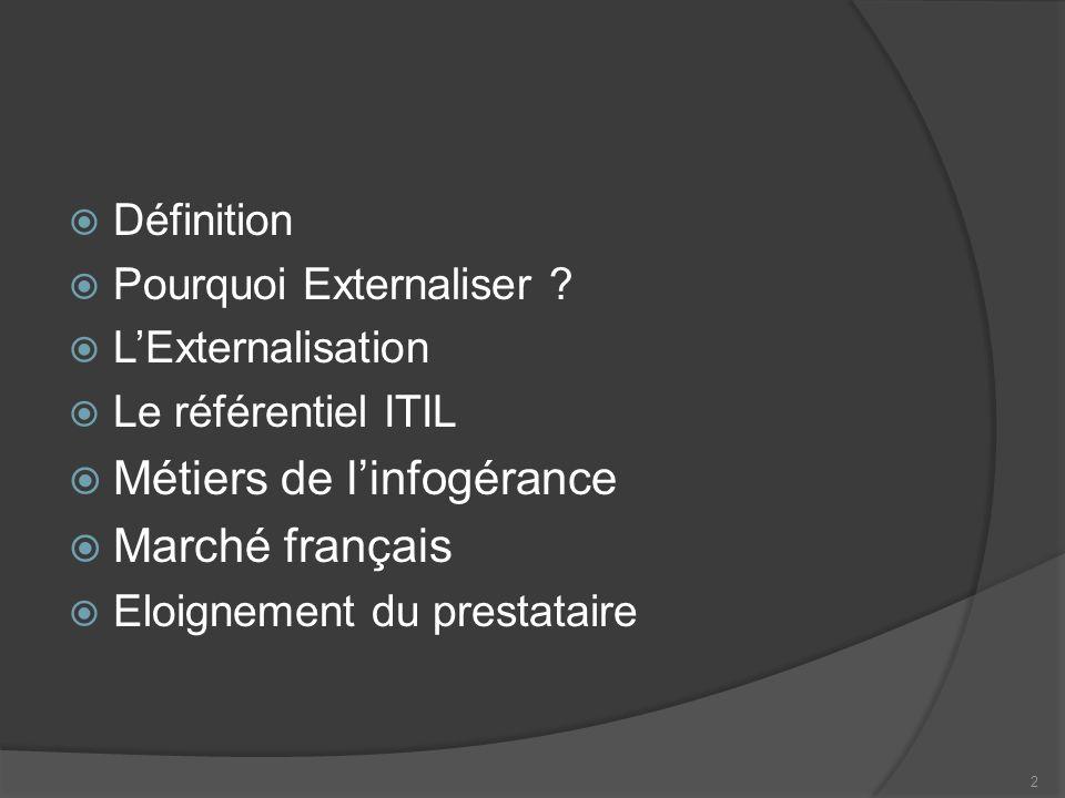 Définition Pourquoi Externaliser ? LExternalisation Le référentiel ITIL Métiers de linfogérance Marché français Eloignement du prestataire 2