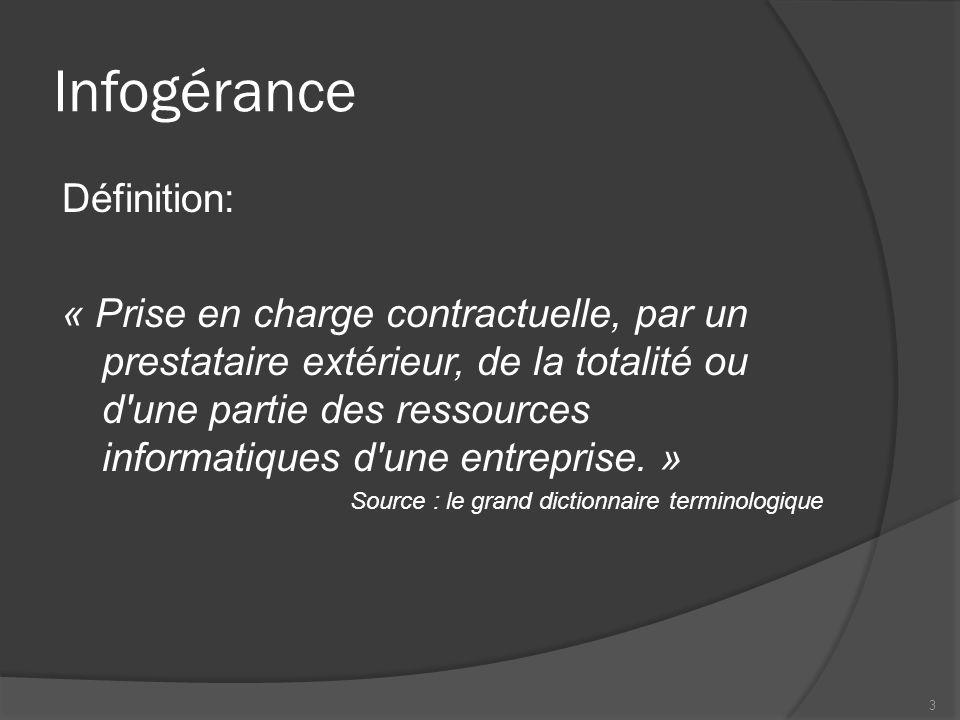 Infogérance Définition: « Prise en charge contractuelle, par un prestataire extérieur, de la totalité ou d'une partie des ressources informatiques d'u