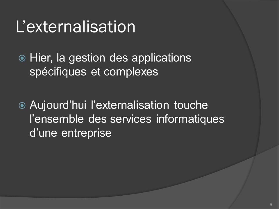Lexternalisation Hier, la gestion des applications spécifiques et complexes Aujourdhui lexternalisation touche lensemble des services informatiques du