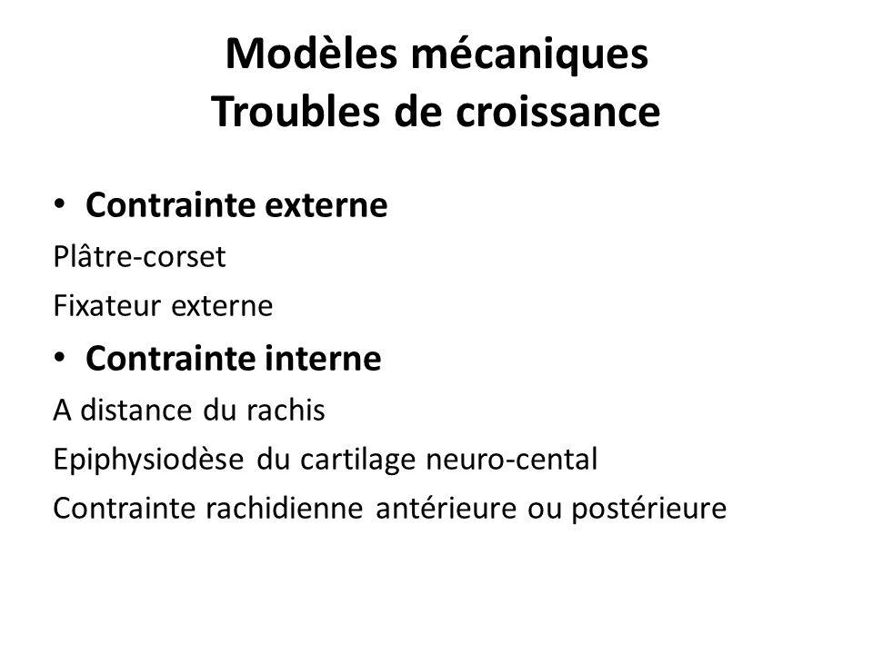 Modèles mécaniques Troubles de croissance Contrainte externe Plâtre-corset Fixateur externe Contrainte interne A distance du rachis Epiphysiodèse du cartilage neuro-cental Contrainte rachidienne antérieure ou postérieure