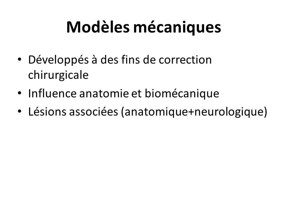 Modèles mécaniques Développés à des fins de correction chirurgicale Influence anatomie et biomécanique Lésions associées (anatomique+neurologique)