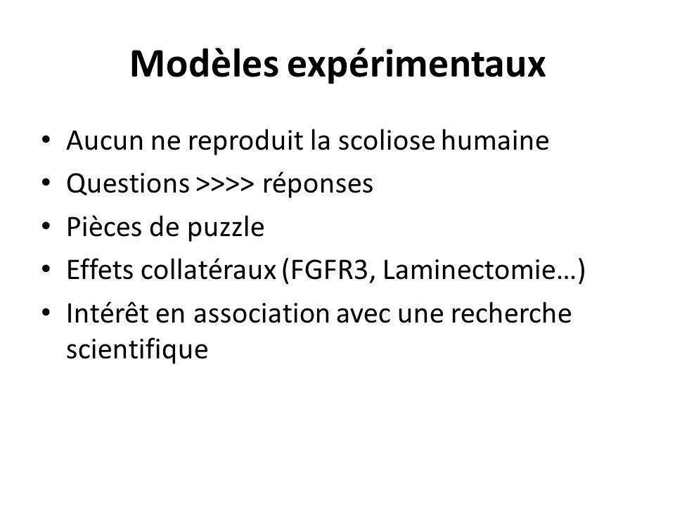 Modèles expérimentaux Aucun ne reproduit la scoliose humaine Questions >>>> réponses Pièces de puzzle Effets collatéraux (FGFR3, Laminectomie…) Intérêt en association avec une recherche scientifique
