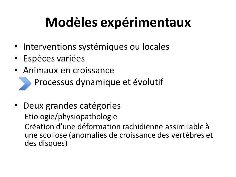 Modèles expérimentaux Interventions systémiques ou locales Espèces variées Animaux en croissance Processus dynamique et évolutif Deux grandes catégori