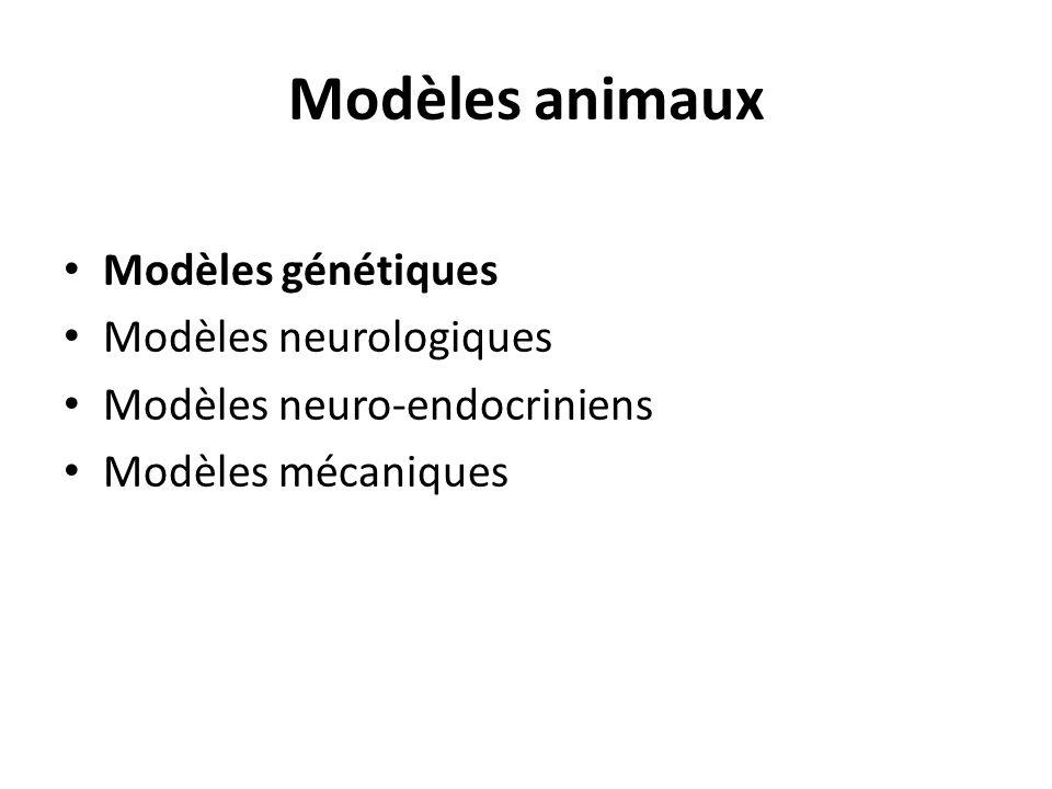 Modèles animaux Modèles génétiques Modèles neurologiques Modèles neuro-endocriniens Modèles mécaniques