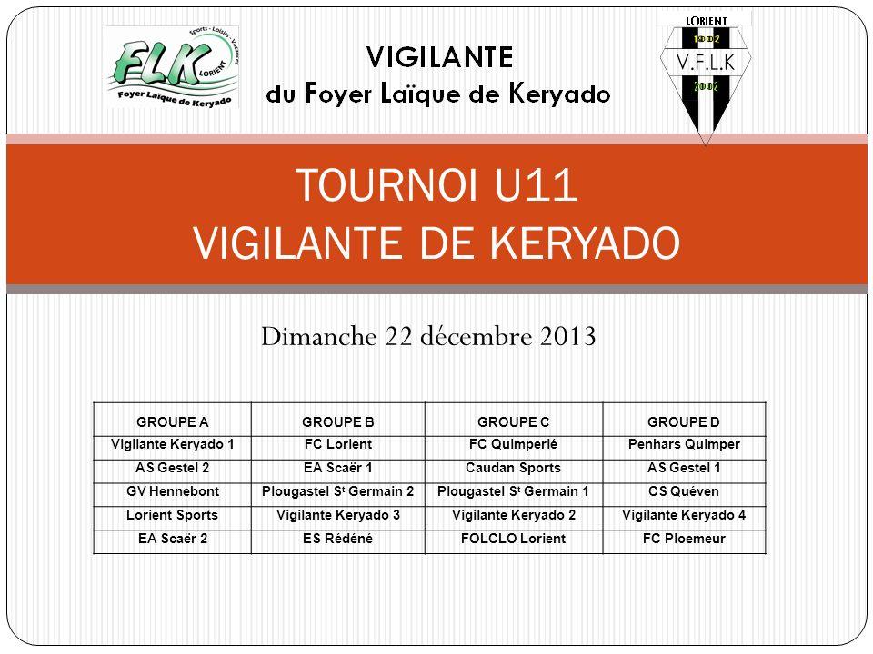 Dimanche 22 décembre 2013 TOURNOI U11 VIGILANTE DE KERYADO GROUPE AGROUPE BGROUPE CGROUPE D Vigilante Keryado 1FC LorientFC QuimperléPenhars Quimper A