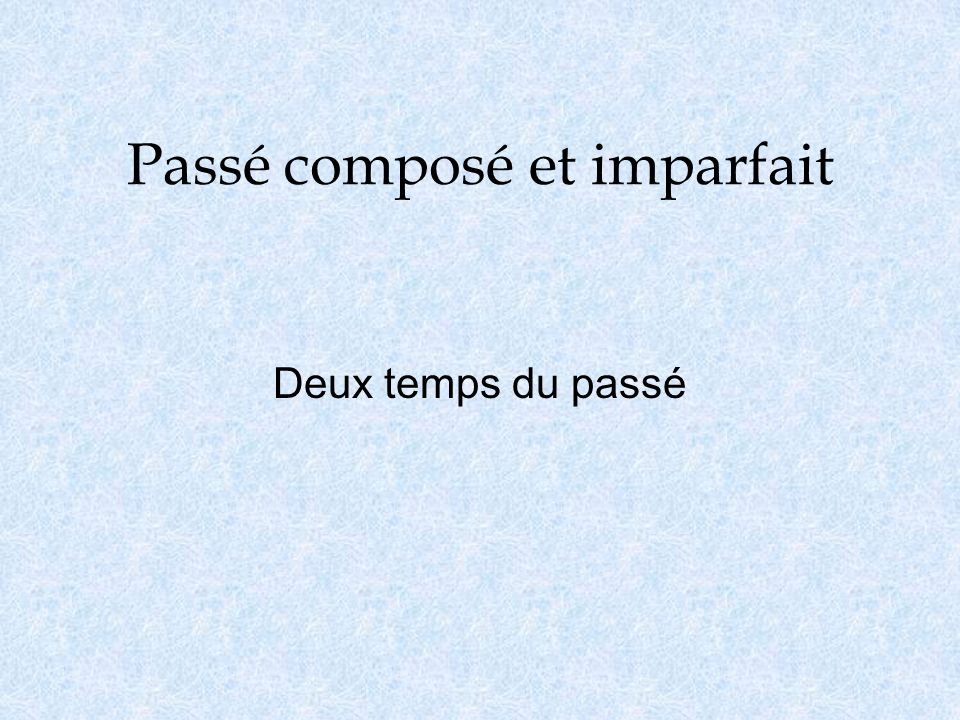 Lusage o Passé Composé is used when an event happened one time, or when the event of which you are speaking is the main event.