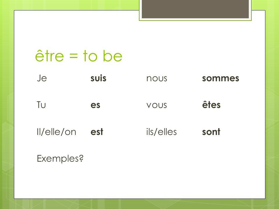 être = to be Je suis nous sommes Tu es vous êtes Il/elle/on est ils/elles sont Exemples?