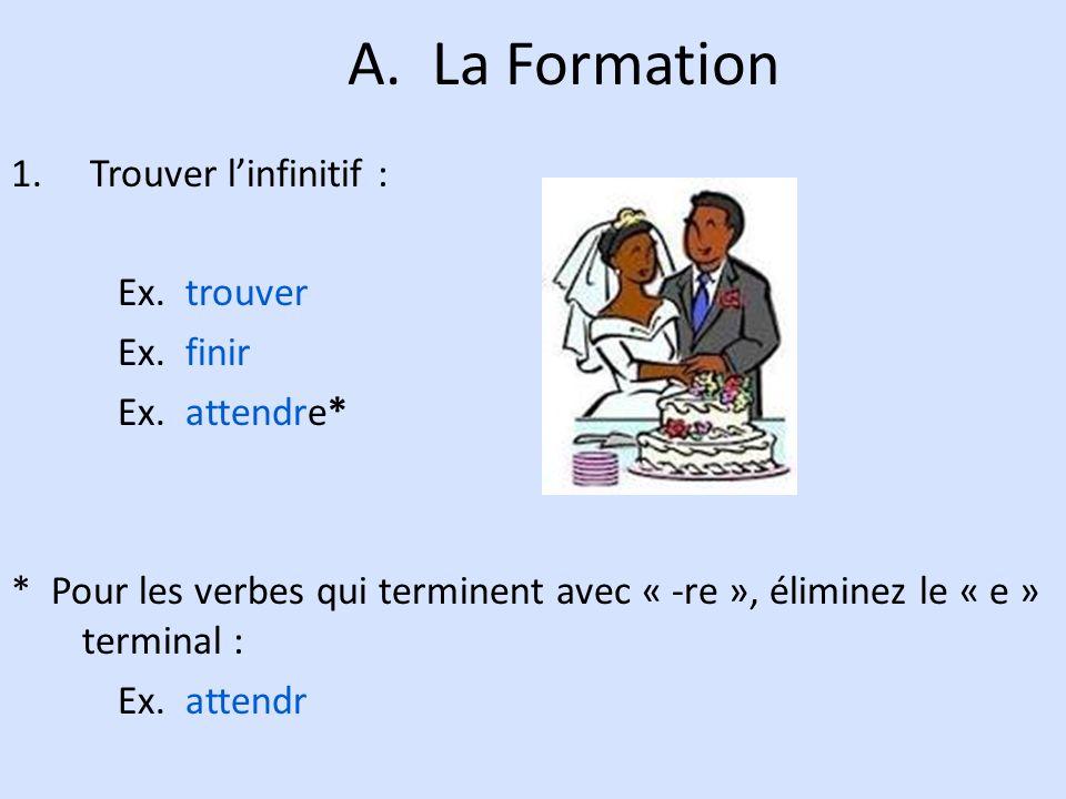 A. La Formation 1. Trouver linfinitif : Ex. trouver Ex. finir Ex. attendre* * Pour les verbes qui terminent avec « -re », éliminez le « e » terminal :