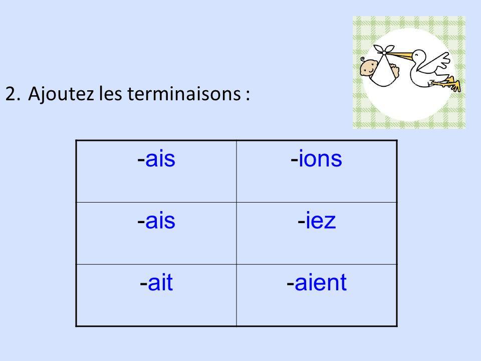 2. Ajoutez les terminaisons : -ais-ions -ais-iez -ait-aient