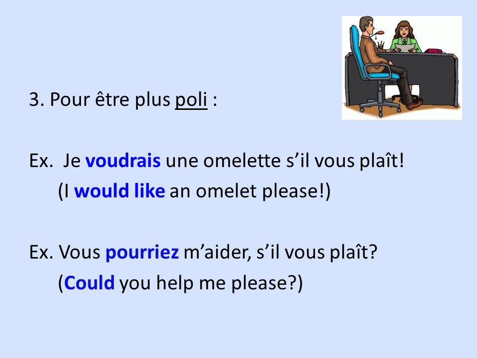 3. Pour être plus poli : Ex. Je voudrais une omelette sil vous plaît! (I would like an omelet please!) Ex. Vous pourriez maider, sil vous plaît? (Coul