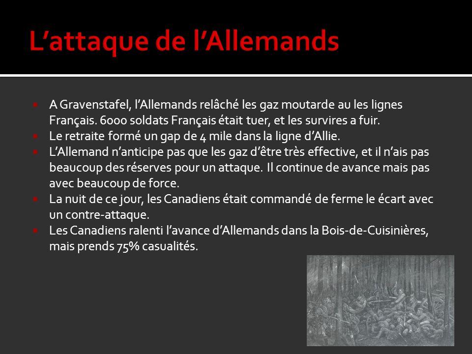 A Gravenstafel, lAllemands relâché les gaz moutarde au les lignes Français. 6000 soldats Français était tuer, et les survires a fuir. Le retraite form