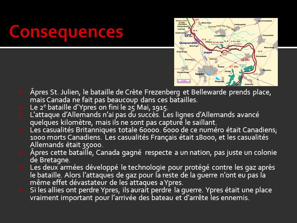 Âpres St. Julien, le bataille de Crète Frezenberg et Bellewarde prends place, mais Canada ne fait pas beaucoup dans ces batailles. Le 2 e bataille dYp
