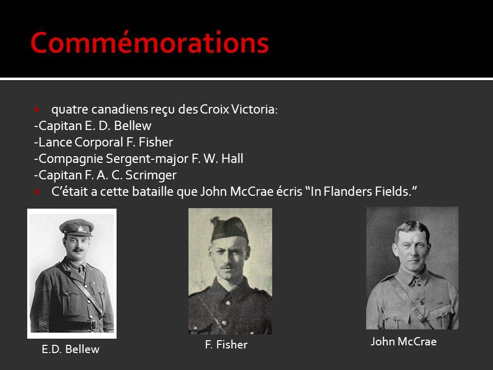 quatre canadiens reçu des Croix Victoria: -Capitan E. D. Bellew -Lance Corporal F. Fisher -Compagnie Sergent-major F. W. Hall -Capitan F. A. C. Scrimg