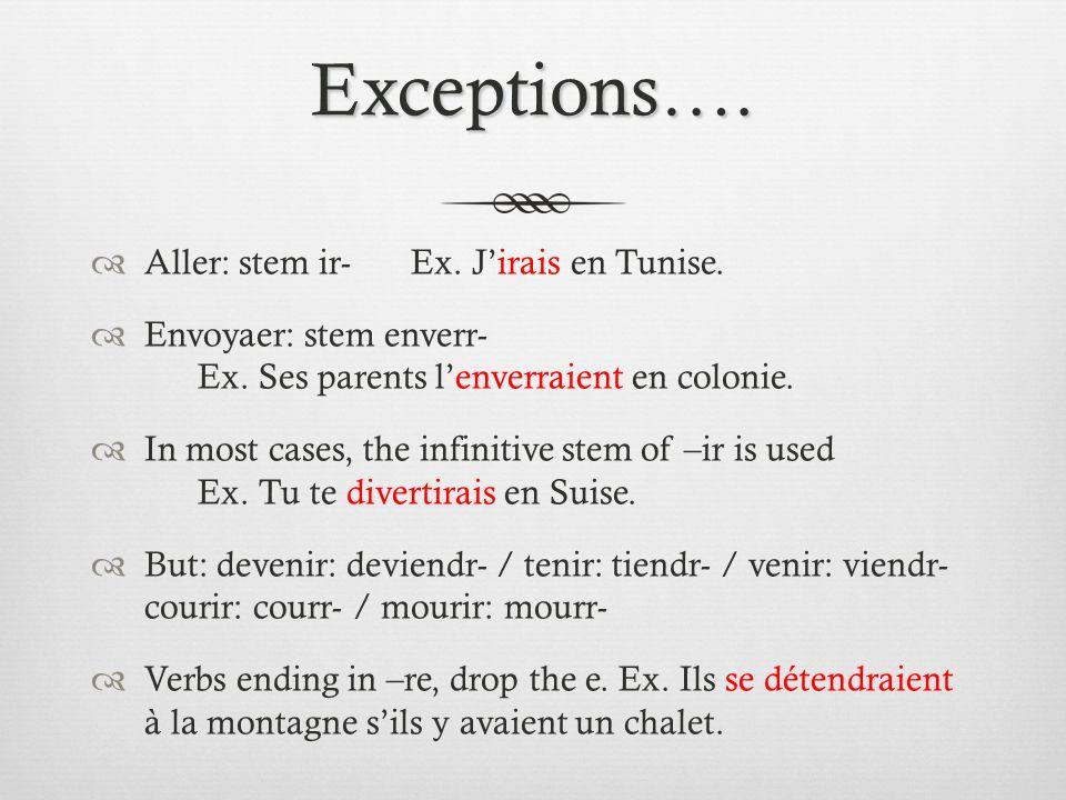 Exceptions…. Aller: stem ir- Ex. Jirais en Tunise. Envoyaer: stem enverr- Ex. Ses parents lenverraient en colonie. In most cases, the infinitive stem