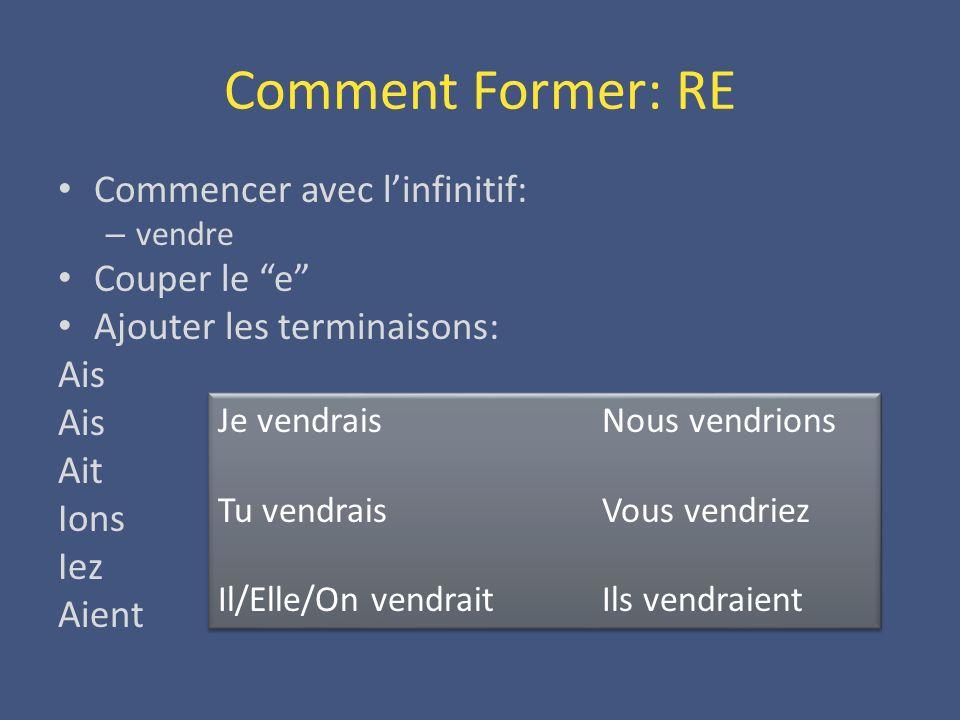Comment Former: RE Commencer avec linfinitif: – vendre Couper le e Ajouter les terminaisons: Ais Ait Ions Iez Aient Je vendraisNous vendrions Tu vendr