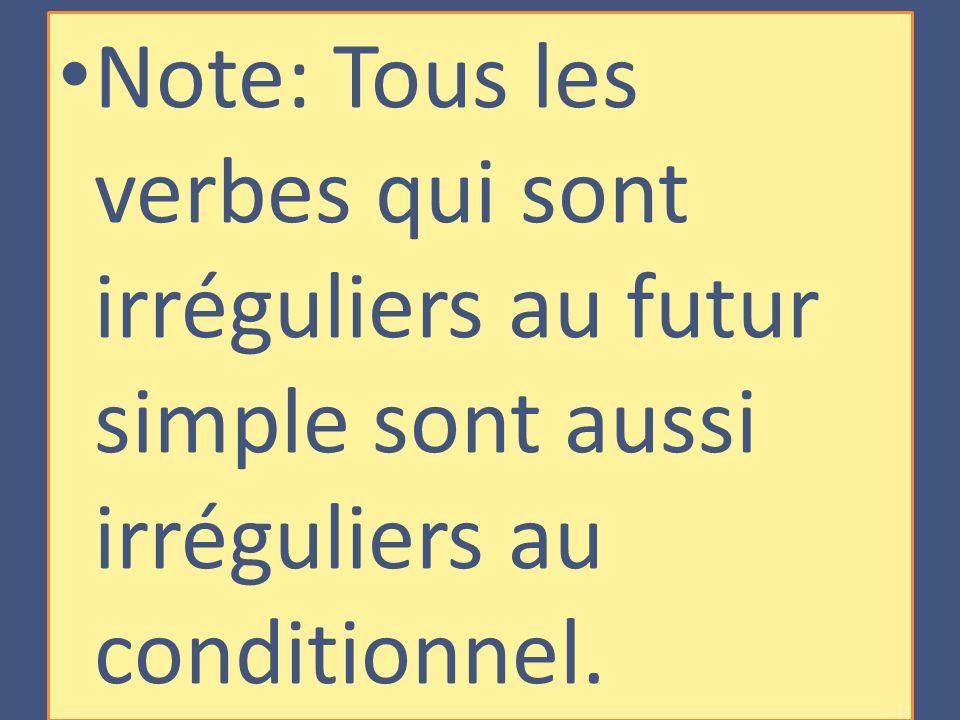 Note: Tous les verbes qui sont irréguliers au futur simple sont aussi irréguliers au conditionnel.