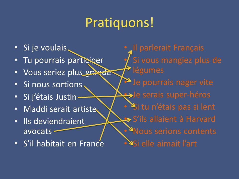 A Vous.Si jétais riche, j ___________ (aller) en France.