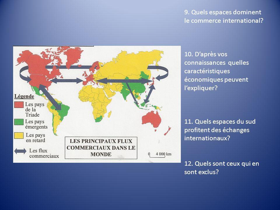 9. Quels espaces dominent le commerce international? 10. Daprès vos connaissances quelles caractéristiques économiques peuvent lexpliquer? 11. Quels e