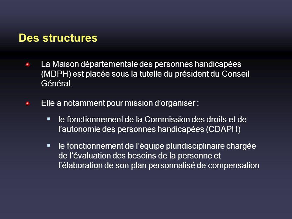 Des structures La Maison départementale des personnes handicapées (MDPH) est placée sous la tutelle du président du Conseil Général. Elle a notamment