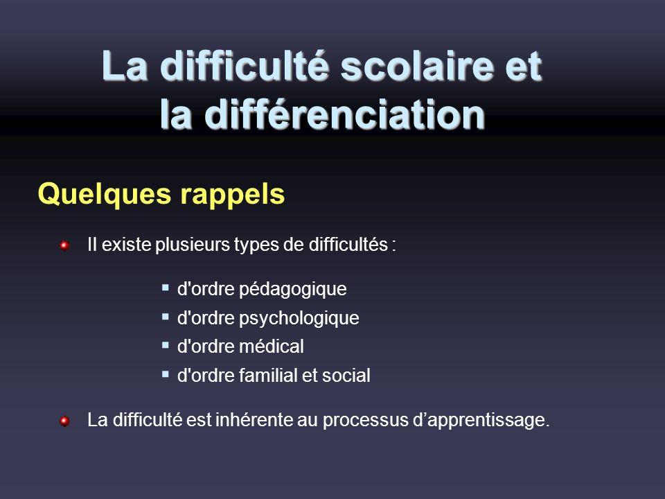 La difficulté scolaire et la différenciation Il existe plusieurs types de difficultés : d'ordre pédagogique d'ordre psychologique d'ordre médical d'or